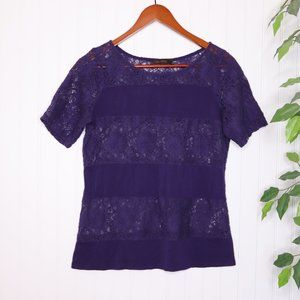 The Limited Short Sleeve Lace Top M